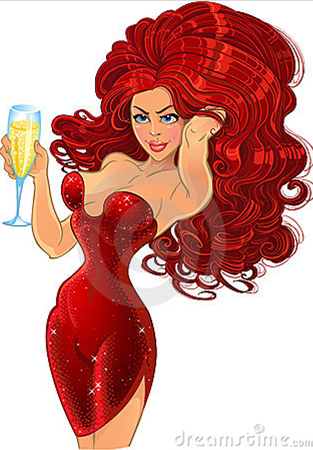 Glamour bubble red head