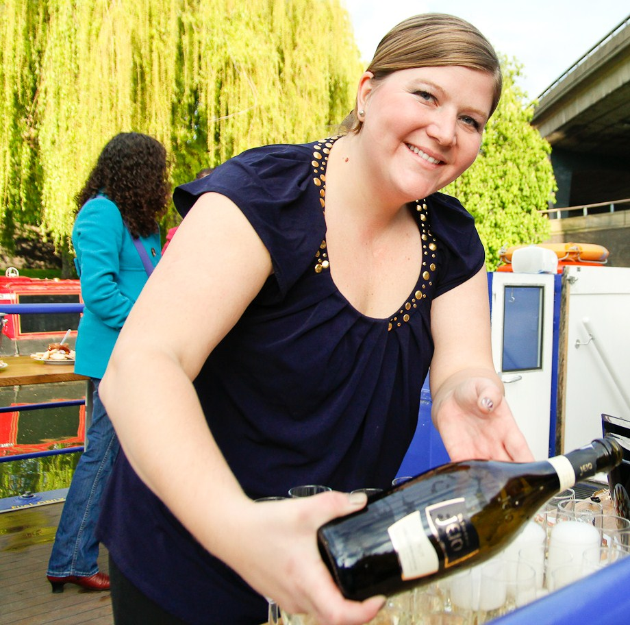 Kelly pouring Bisol Prosecco